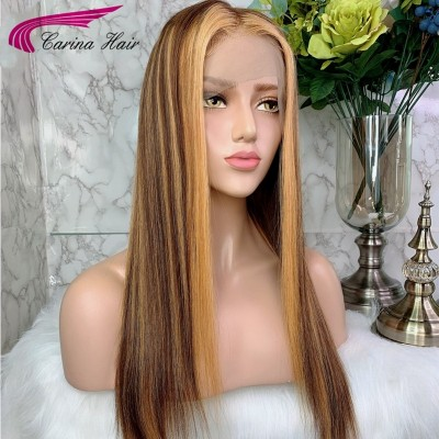 Carina Customized Ombre Highlights Straight Lace Front Human Hair Wigs Pre Plucked with Baby Hair