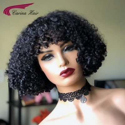 Carina Customized Brazilian Bob Curly Human Hair Lace Wigs with Bangs Pre Plucked Hairline