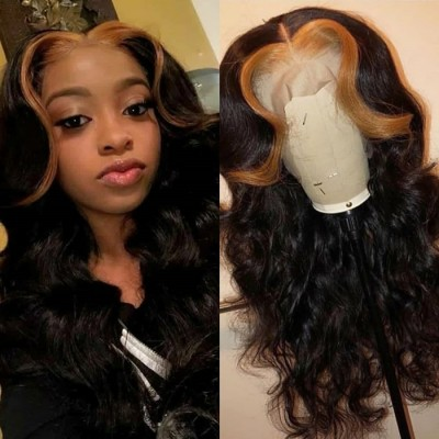20-26 Inches Ombre Remy Hair 13x6 Lace Wigs Pre Plucked with Baby Hair