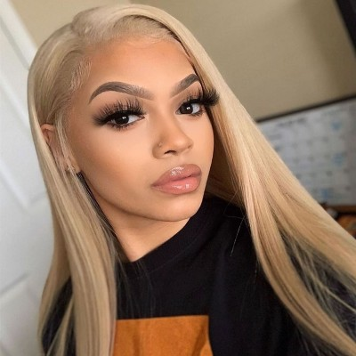 Carina Customized #27B Remy Human Hair Wigs Silky Straight Lace Wigs Pre Plucked Hairline