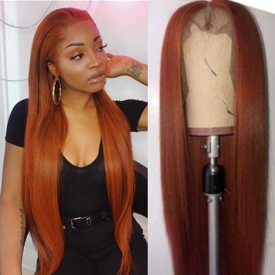 Carina Customized Orange Human Hair Wigs Silky Straight Lace Wigs Pre Plucked Hairline