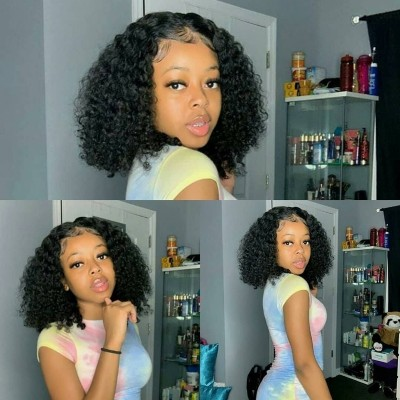 Carina Customized Brazilian Remy Afro Kinky Curly Human Hair Full Lace Wigs Glueless Pre Plucked with Baby Hair