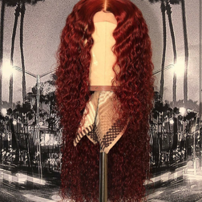 Carina Custom Order Red/Black Curly Human Hair Lace Front Wigs Virgin Full Lace Wigs with Pre Plucked Hairline