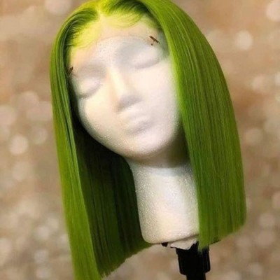 Light Green Summer Bob Lace Wigs 150% Density Pre Plucked Human Hair with Baby Hair