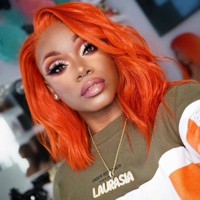 Carina Customized Orange Bob 14inch 150% Density Human Hair Lace Wigs Pre Plucked with Baby Hair