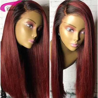 1B/99J Human Hair Lace Front Wigs Ombre Color Full Lace Wig for Women with Baby Hair