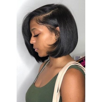 Straight Short Bob Wigs 13x6 Long Parting Transparent Lace Wigs 10A Virgin Human Hair Wigs