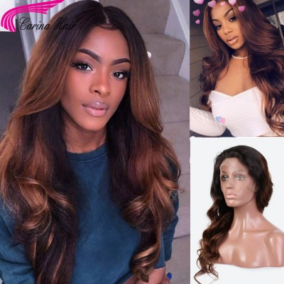 1B/30 Ombre Body Wave Lace Front Wig For Women With Baby Hair Glueless Brazilian Virgin Human Hair Wigs