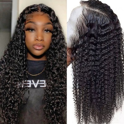 Carina 5x5 Deep Curly Closure Wigs Brazilian Human Hair with Baby Hair Pre Plucked