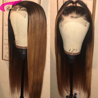 Ombre Color Human Hair Lace Front Wigs Silky Straight Full Lace Wigs Pre Plucked Hairline