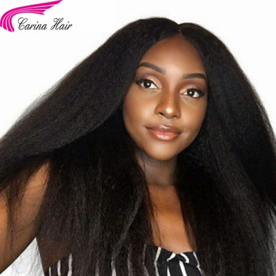 Brazilian Remy Kinky Straight Human Hair Lace Front Wigs With Baby Hair Natural Hairline