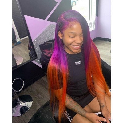 Carina Customized Ombre Purple Orange Lace Front Wig Pre-Plucked Hairline