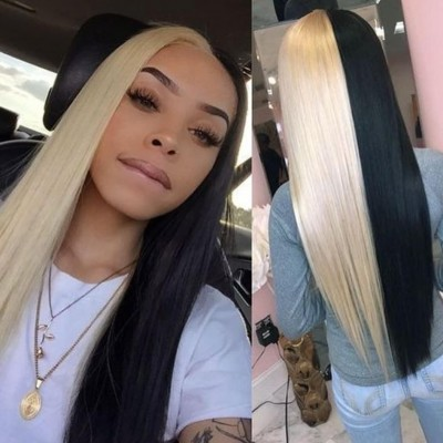 Carina Customized Half blonde Half black Straight Human Hair Wigs For Women With Baby Hair