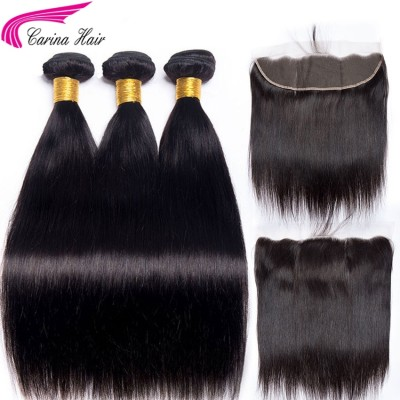 10A Hair Extensions 3 Bundles with 13x4 Lace Frontal Silky Straight Human Hair
