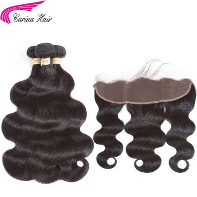 10A Body Wave Hair Extensions 3 Bundles with 13x4 Lace Frontal 100%  Human Hair
