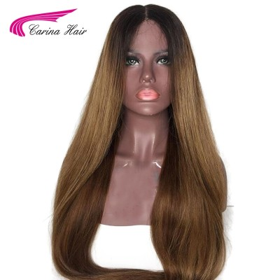 Ombre Color Lace Front Human Hair Wigs Pre-Plucked Hairline Remy Brazilian Hair Glueless Wigs