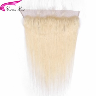 613 Full Blonde Brazilian Remy Human Hair Lace Frontal Closure Straight 13x4 Bleached Knots Baby Hair