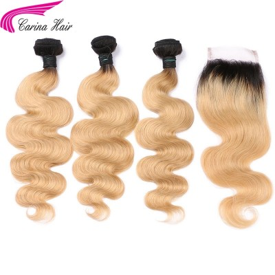 Ombre Color 1B/27 Hair Wefts 3 Bundles with 4x4 Lace Closure