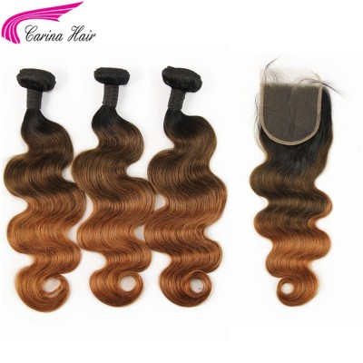Ombre Color Three Tone Hair Wefts Silky Straight / Body Wave 3 Bundles with 4x4 Lace Closure