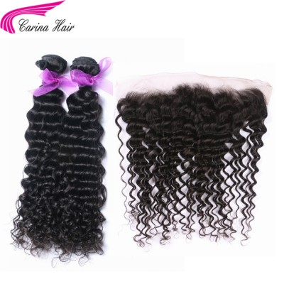 Deep Wave Brazilian Hair Weave 2 Bundles with 13*4 Ear to Ear Lace Frontal Free Part