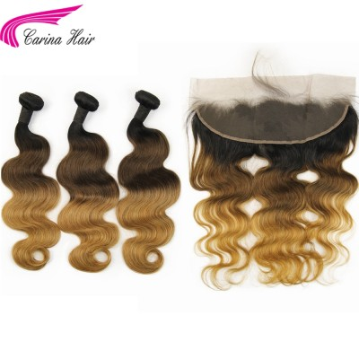 Ombre Color Hair Wefts Three Tone Silky Straight / Body Wave 3 Bundles with 13x4 Lace Frontal