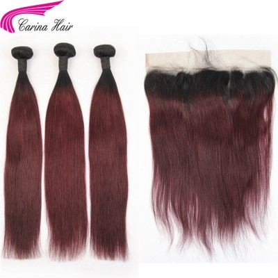 1B/99J Hair Extensions Silky Straight / Body Wave 3 Bundles with 13x4 Lace Frontal