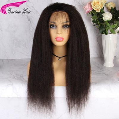 Kinky Straight Human Hair Wigs Glueless Lace Wigs for Black Women