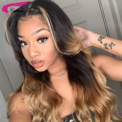 Carina Customized Highlights Ombre Human Hair Wigs Pre Plucked Hairline with Baby Hair