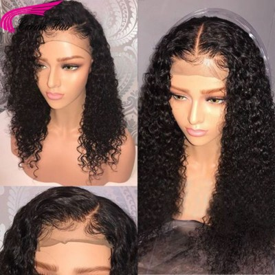 Kinky Curly Lace Wigs 180% Density Brazilian Remy Human Hair Wigs Pre Plucked Hairline