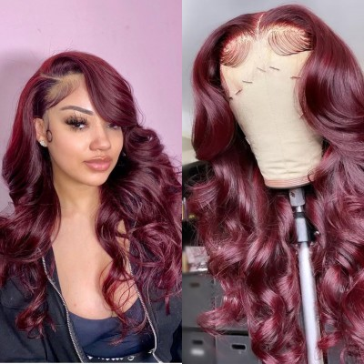 Carina Customized  99J Human Hair Wigs Loose Wave Lace Wigs Pre Plucked Hairline