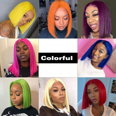 Carina Customized Colorful Bob Lace Wig  Pre Plucked Hairline with Baby Hair