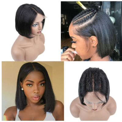 Carina Bob Virgin Hair Wigs Deep Part 13x6 Lace Frontal Human Hair Wigs Pre Plucked with Baby Hair