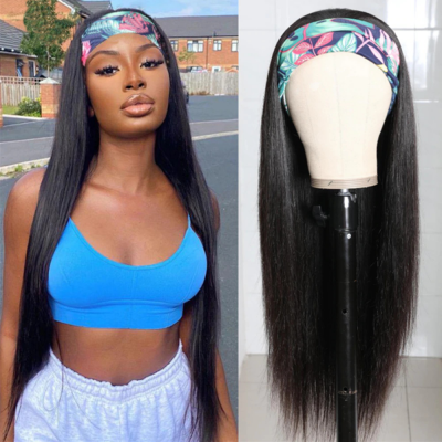 Carina Customized Headband Wig Silky Straight Beginner Friendly Virgin Human Hair Wigs with Baby Hair