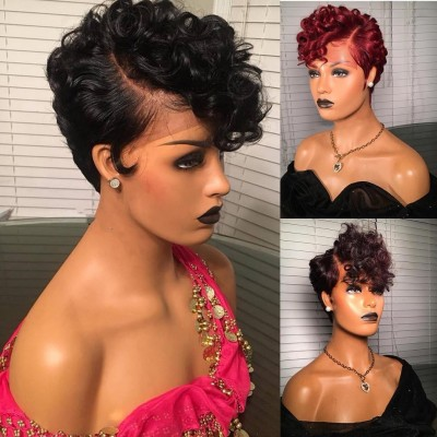 Customized Pixie Bob 13x6 Lace Frontal Wig 150% Density Brazilian Virgin Hair with Baby Hair