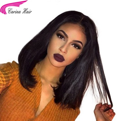 Yaki Straight Full Lace Wigs Pre Plucked 13x6 Deep Part Lace Front Human Hair Wigs
