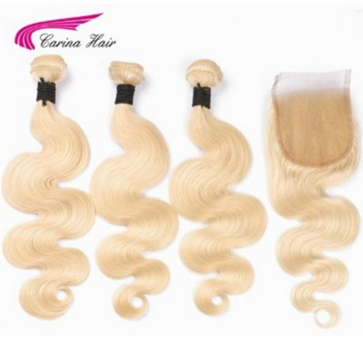 Brazilian Remy Human Hair 613 Color Hair Wefts 3 Bundle with 4*4 Lace Closure