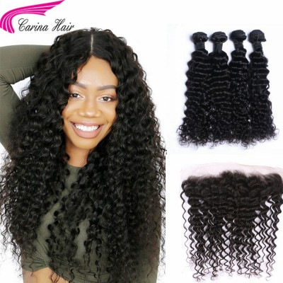 Deep Wave Brazilian Hair Weave 4 Bundles with 13*4 Ear to Ear Lace Frontal Free Part