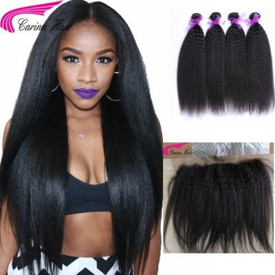 Kinky Straight Brazilian Hair Weave 4 Bundles with 13x4 Lace Frontal Free Part