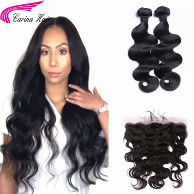 Body Wave Brazilian Hair Weave 2 Bundles with 13*4 Ear to Ear Lace Frontal Free Part