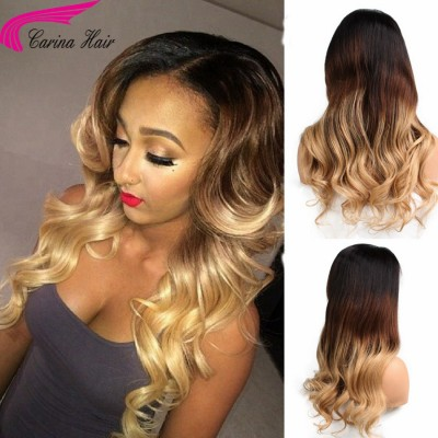 Remy Peruvian Wave Full Lace Wigs Ombre Color 3T 1b/4/27 Human Hair Wigs with Baby Hair