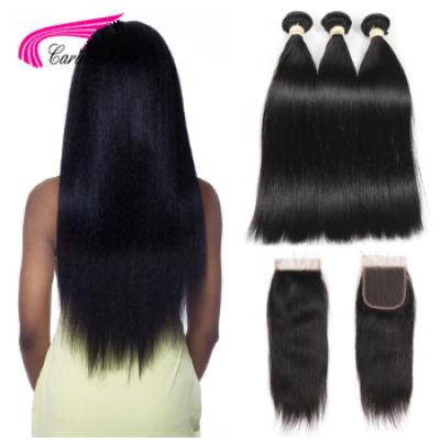 Silky Straight Hair Extensions Brazilian Hair Weave 3 Bundles with 4x4 Lace Closure Free Part