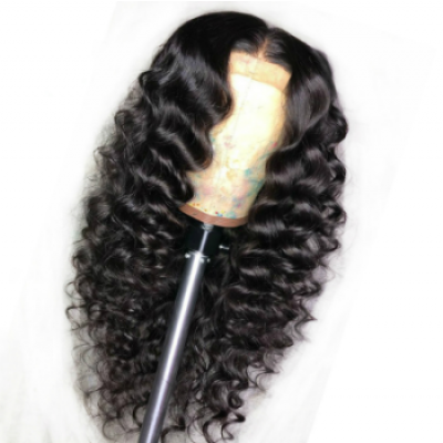 Wave Human Hair Wigs Gluesless 360 Lace Wigs with Baby Hair Pre Plucked Hairline