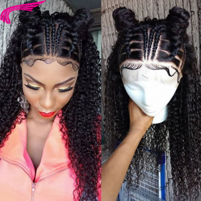 Kinky Curly Human Hair Full Lace Wigs with Baby Hair for Women