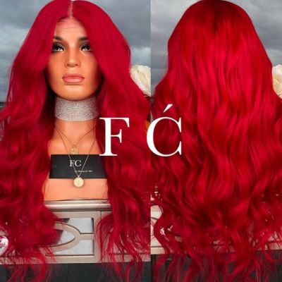 Red Remy Human Hair Wigs Loose Wave Color Lace Wigs Pre Plucked Hairline