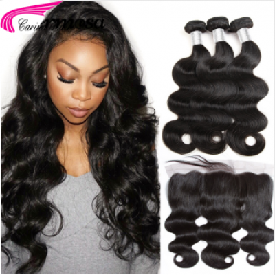 10A Body Wave 3 Hair Bundles with 13x4 Lace Frontal 100%  Human Hair