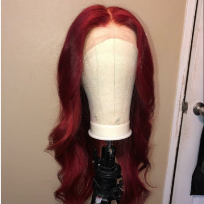 Wave Red Color Human Hair Lace Wigs with Baby Hair Pre Plucked Hairline