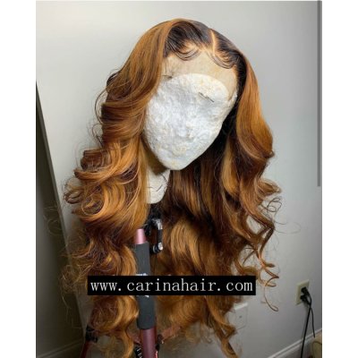 Carina Customized Loose Wave Ombre Color Lace Wigs Peruvian Remy Human Hair Wigs Pre Plucked