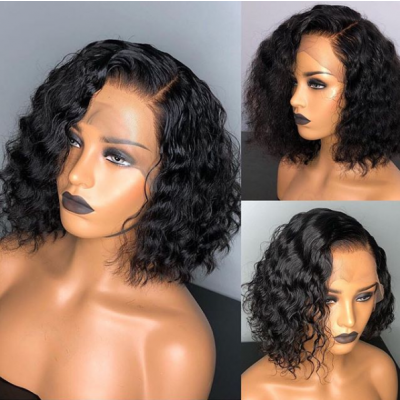 HD Lace Deep Wave Human Hair Full Lace Wigs Glueless Lace Frontal Wigs With Baby Hair Bob Wigs
