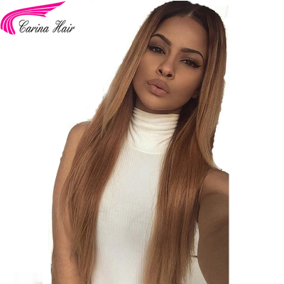 Ombre Color Lace Front Human Hair Wigs Silky Straight Full Lace Wigs Pre Plucked Hairline