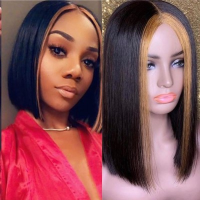 Carina Customized Highlights Bob Wigs Human Hair Lace Wigs Pre Plucked Hairline